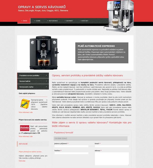 Tvorba webových stránek pro Coffee-servis.cz